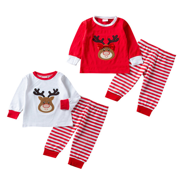 a11274cc6f2c Christmas kids boys girls costume reindeer clothes top+pants 2-piece set  outfits red white bowknot xmas big kids children clothing