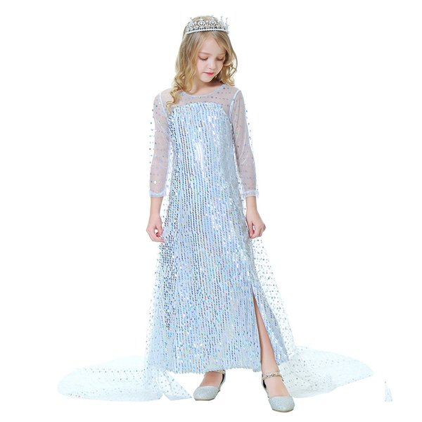 top popular Retail kids   clothes girls dresses Snow queen sequined princess dress with cloak long party dress children clothing 2020