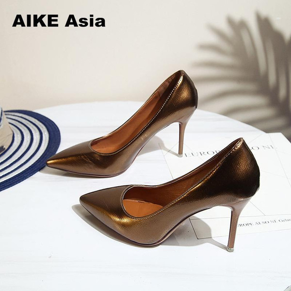 Aike Asia 2019 New Arrive Women Shoes Blue Snake Printed Sexy Stilettos High Heels 8cm Pointed Toe Women Pumps