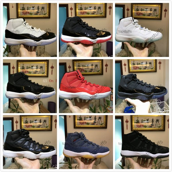 11 11s Cap Gown Prom Night Men Basketball Shoes Platinum Tint Gym Red Bred PRM Heiress Barons Concord 45 Space Jam mens sneakers