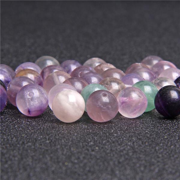 Perle rotonde viola fluorite in pietra naturale allentati per monili che fanno DIY della fluorite della pietra Beads Materiale 4/6/8/10 / 12mm all'ingrosso