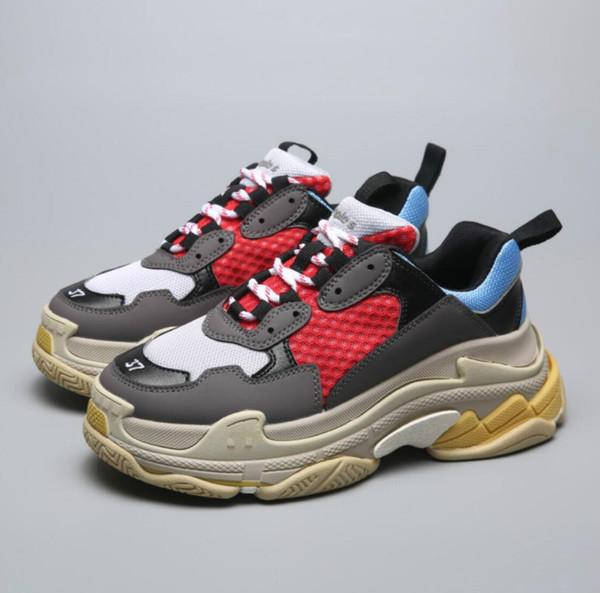 Paris 17FW Triple-S Chaussures Décontractées 22019 SizeFashiDad Chaussures Triple S Sneakers pour Hommes Femmes Dévoûte Les Formateurs Loisirs Rétro Formation Vieux Grand-Père