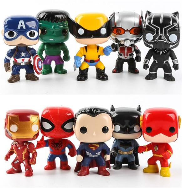 FUNKO 10pcs/set DC Justice Action Figures League & Marvel Avengers Super Hero Characters Model Vinyl Action & Toy Figures for Kids