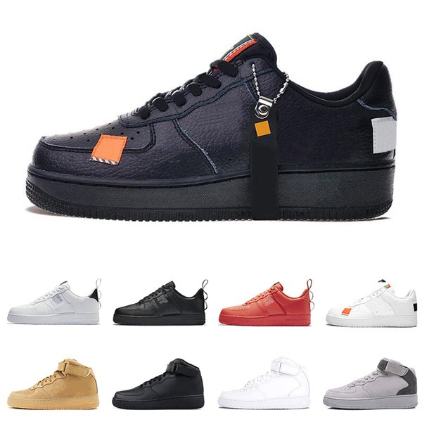 Acheter Nike Air Force 1 AF1 Just Do It Course Pour Hommes Dunk Utility Low High White Lin Orange Orange Rouge Hommes Baskets Chaussure De Skateboard