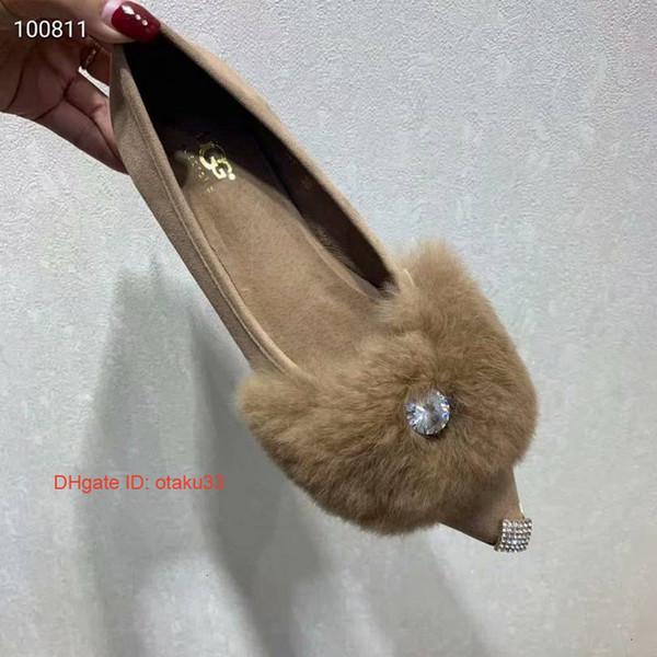 Ervilhas das senhoras Únicos sapatos casuais Couro importado Decoração de metal Pele de carneiro Tempo de lazer Sapato