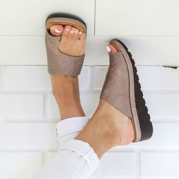 Zapatos de cuero de la PU de las mujeres Plataforma cómoda Suela plana Señoras Casual Soft Toe Foot Correction Sandal Orthopedic Bunion Corrector