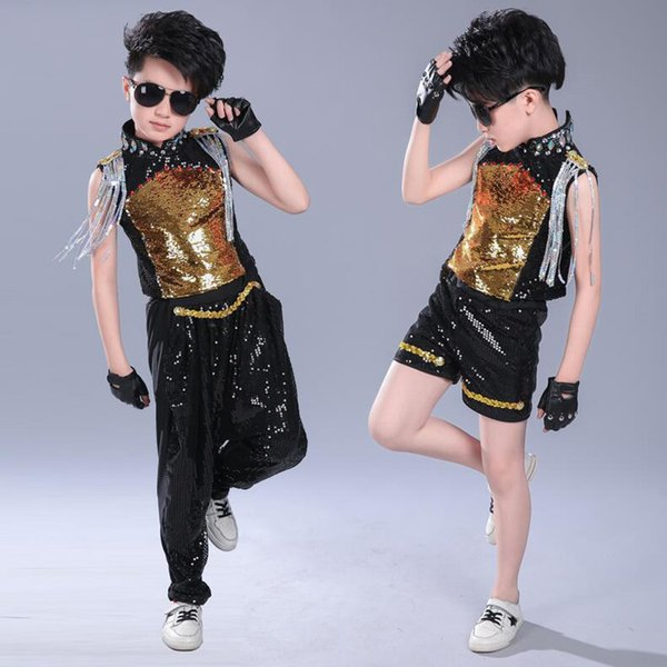 Kid Hip Hop Clothing Sequined Tops Pants Clothing Boys Jazz Dance wear Costumes Kids Drum Stage wear Ballroom Dancing Outfits