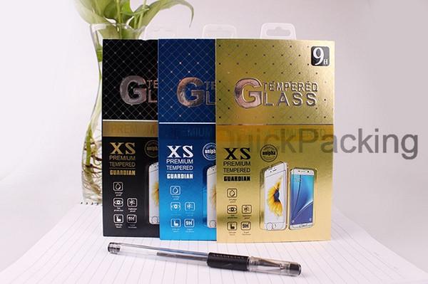 U Stil sınır Perakende Paketi Kutuları Ambalaj için Temperli Cam Ekran Koruyucu için iPhone XR XS MAX X 8 Artı Samsung Huawei