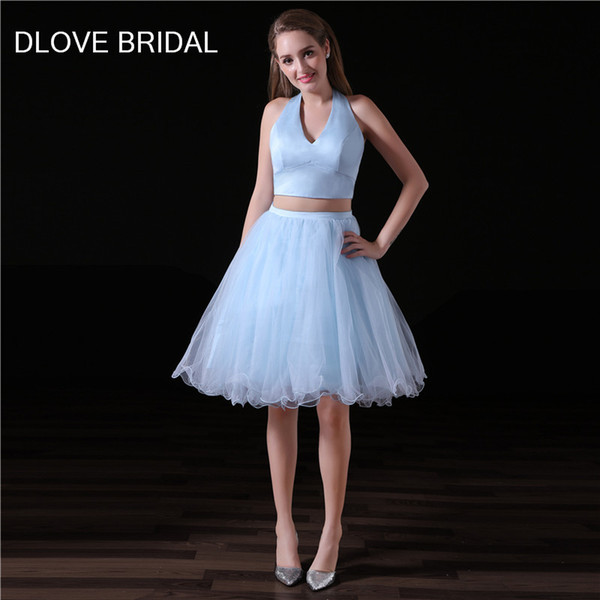 Simple Two Pieces Homecoming Dress Light Sky Blue Short A Line Halter Tulle Prom Party Dresses Factory Custom Made Special Occassion Gown