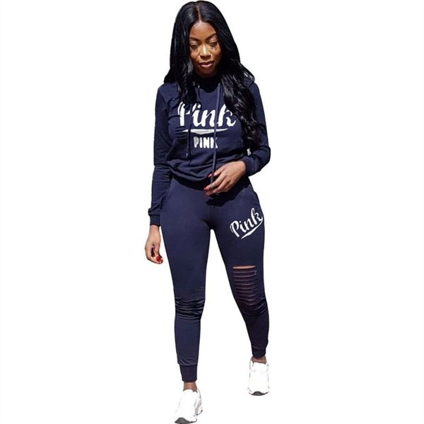 Spring 2019 Letter Hot Print Tracksuit Women Casual Outfits 2 Two Piece Set Full Pants Suits Plus Size Clothing