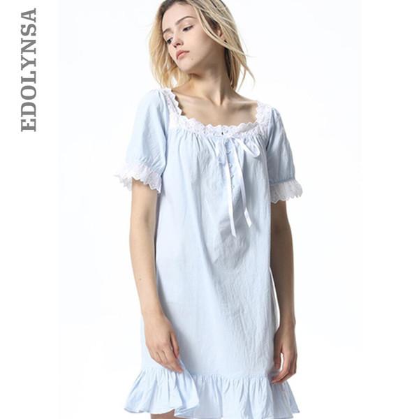 Summer Sleep Wear Night Shirt Home Dress White Cotton Nightgown Nightwear Women Plus Size Sleepwear Plain Nightdress Nighty T332 Y19071901