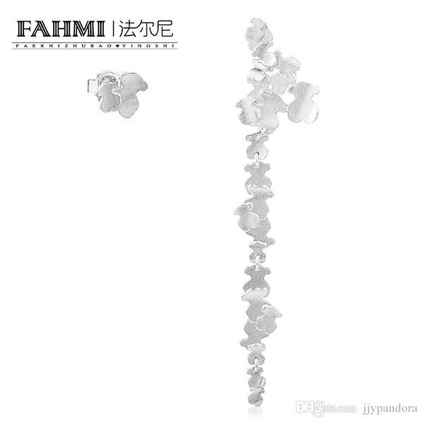 FAHMI 100% 925 Sterling Silver Elegant Cute Little Bear Chain Tree Vine Long Earrings 712293520 Original Women's Jewelry Gift