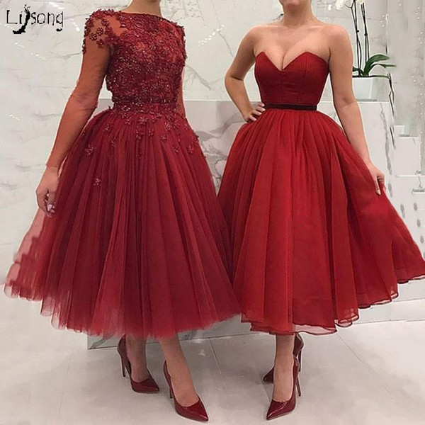 Elegant Red Burgundy Floral Appliques Tulle Long Sleeves Tea Length Prom Dress Puffy High Quality Vintage Prom Evening Event Midi Ball Gown