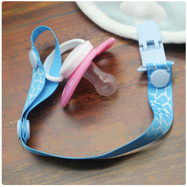 adjustable baby pacifier clip chain webbing pacifier nipple clip traction belt baby pacifier feeding chain 6 colors