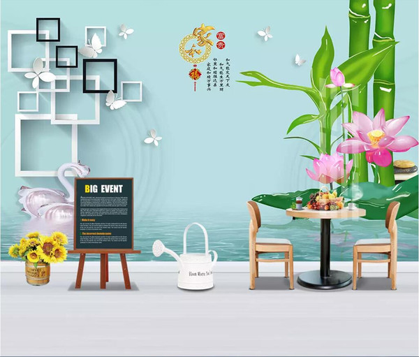 3d room wallpaper cloth custom photo Home and rich crystal bamboo lotus box square swan background wall wallpaper for walls 3 d
