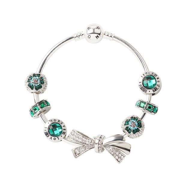 2019 New 925 Silver Women Diamonds Bow Bracelets chain Pandora Bangle cuff Fashion Jewelry Gift Big hole bead Bracelet Valentine's Day gift
