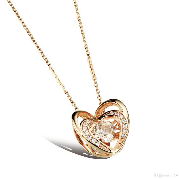Gold plated zircon girls love double heart pendant necklace Romantic bride crystal glowing sisters bff heart necklace for women