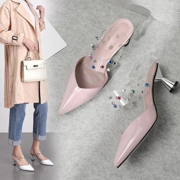 Goddess2019 In Early The Year Sharp High-heeled Shoes Coarse Wine Glass With Cool Joker Woman Slipper