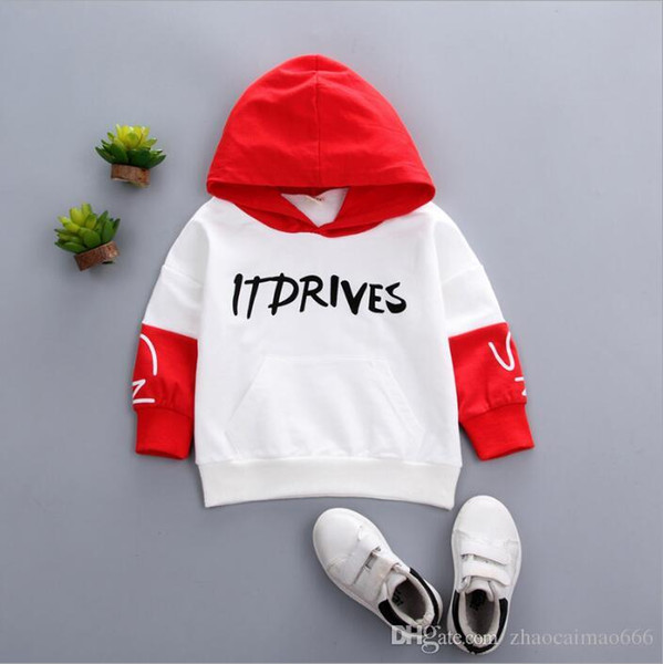 New sleeve color matching letters printed boys and girls hat T-shirt 4-year-old pure cotton sweater jacket casual sweater