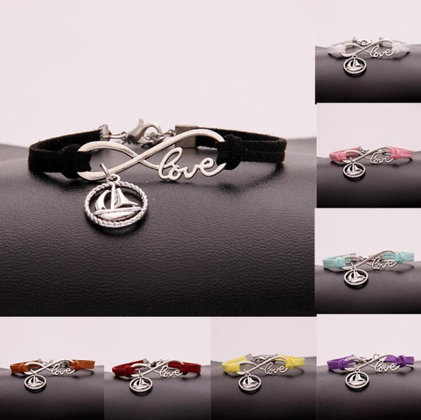 Infinity Love Aailboat Bracelet Tibetan Silver Bangle Fashion Bangle PU Mixed Leather Charm Bracelet Women Jewelry Handcraft Accessories
