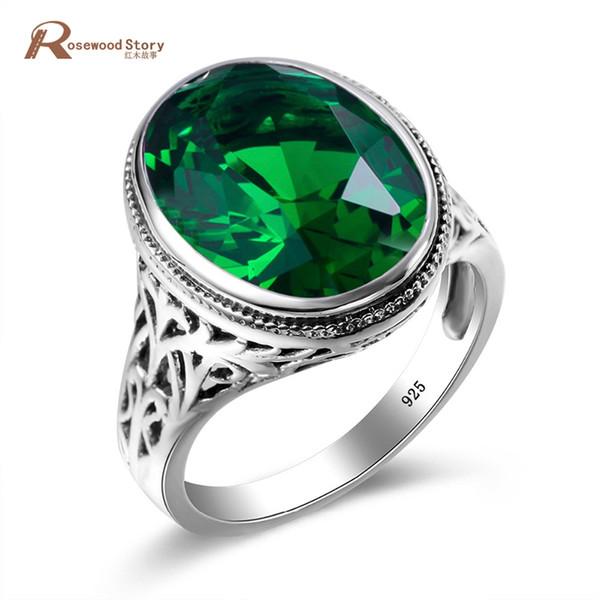 Fascini tibetani fatti a mano Anello Inviti di nozze Cristallo verde 925 Anelli in argento sterling per donne Uomini Vintage Dress Jewellery J190523