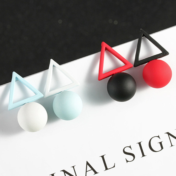 Nova Moda Geométrica Brincos Para As Mulheres Rodada Triângulo Design Elegante Pérola Brincos Para Presente de Casamento de Aniversário