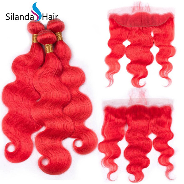 Silanda Hair Popular Red Body Wave Brazilian Remy Human Hair Weaves 3 Weaving Bundles With 13X4 Lace Frontal Closure For Sale Free Shipping