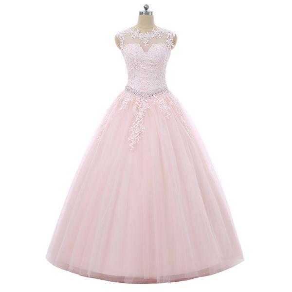 2019 New Princess Pink Crystal Appliques Ball Gown Quinceanera Dresses Sequins Backless Plus Size Sweet 16 Dresses Vestidos De 15 Anos BQ135