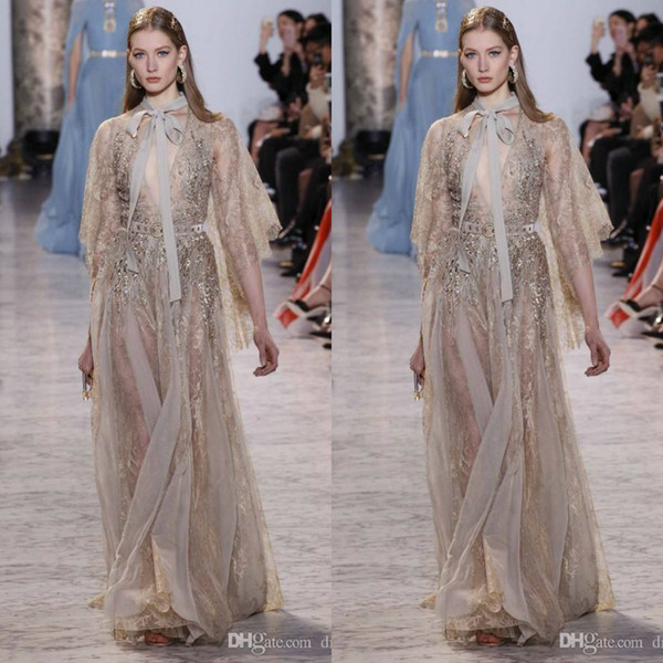 Elie Saab Lace Dresses Evening Wear With Long Sleeves Deep V-Neck Beaded Evening Gowns See Through Rhinestones Prom Dress
