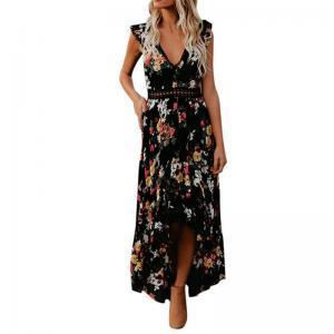 Women Summer Dress Irregular Swallow tail Dress Fashion Cutout Backless Sweet Flower Printed Long Vest party Dresses GGA1554
