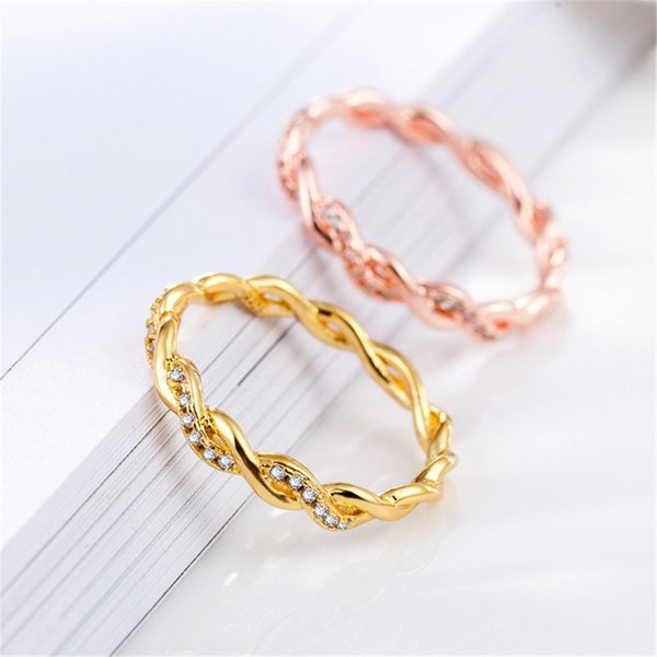 ECODAY Bridal Jewelry Twist Crystal Ring Women Rose Gold Color Rings Bague Femme Anillos Wedding Rings