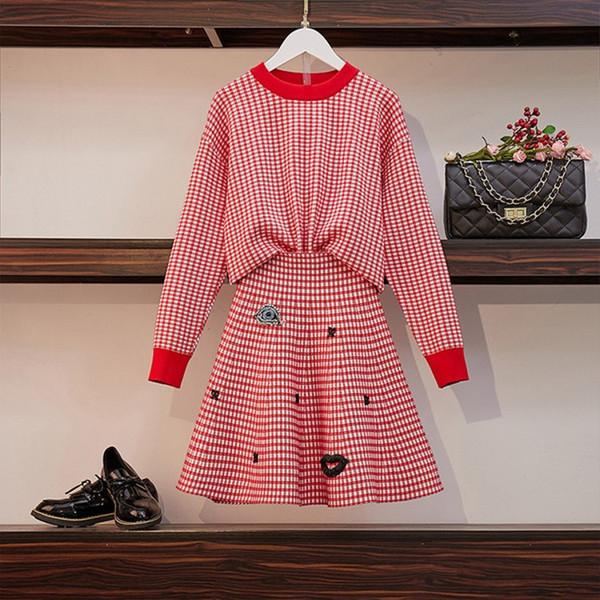2019 Spring fashion Women Long Sleeve Sweater Top+A-line Mini Skirt Knitting Suits Red Plaid Trendy Beading Suit Set