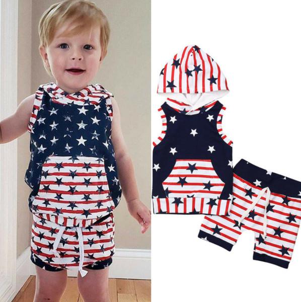 Bandera americana bebés niños trajes niños estrellas raya con capucha sin mangas suéter + con cordones cortos elásticos 2pcs establece 4 de la ropa de julio F7936