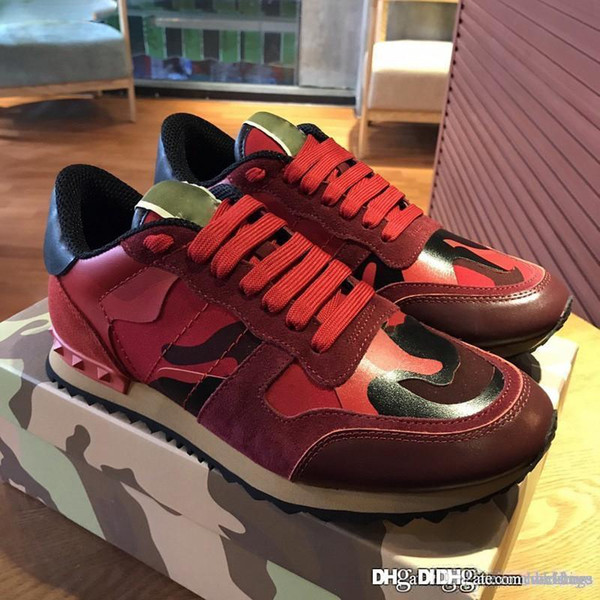 good High Quality Garavaniss Camo Red Camouflage Sneakers Leather Shoes With Box