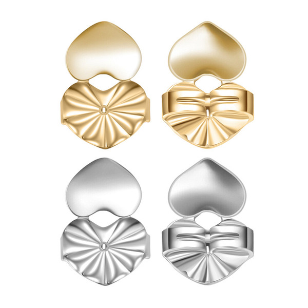 best selling Magic Bax Creative Earring Ear Clip Buckle Lifter Backs Support Lifts Copper Hypoallergenic Fit Post Double Heart 925 Silver Plated Earrings