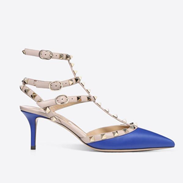Designer Toe 3-Pointu Bracelet avec Goujons talons hauts en cuir véritable rivets sandales femmes cloutés Strappy Souliers formels pompes valentine