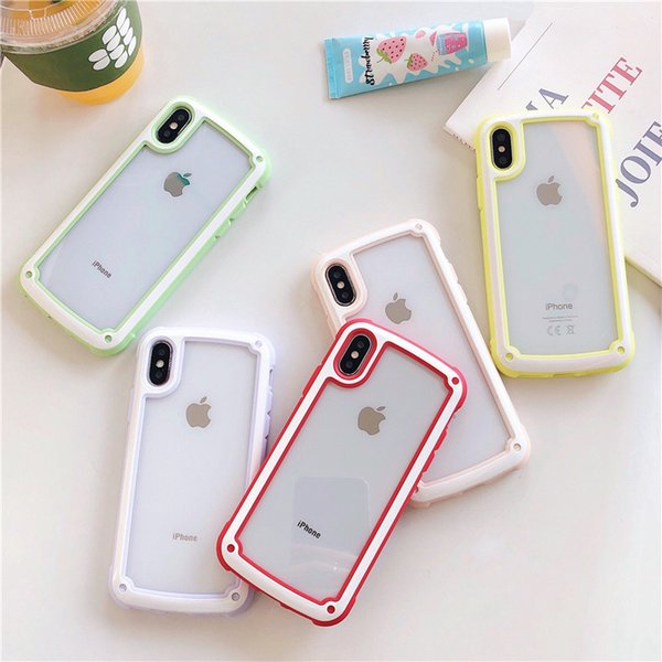 Candy Color Cute Matte Bumper Frame Case For iphone 6 6S 7 8 Plus X Xs Max XR Clear Hard PC Back Cases