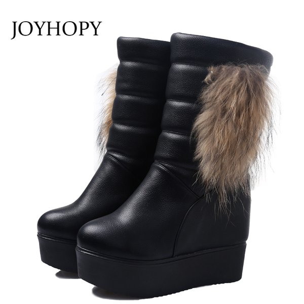 2019 winter fur wedges platform ankle boots women height increasing thick bottom snow shoes large size female short boots wb071