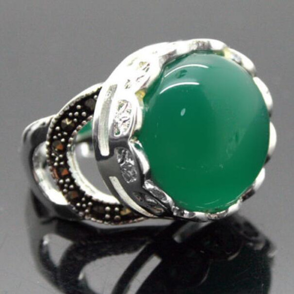 Jewelryr Jade Ring nice valentise gift Natural Green 925 Sterling Silver Ring Size 7/8/9/10 Free Shipping