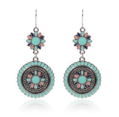 jewelry bohemian earrings flower pattern multi color enamel metal dangle earrings for womens girls drop earrings