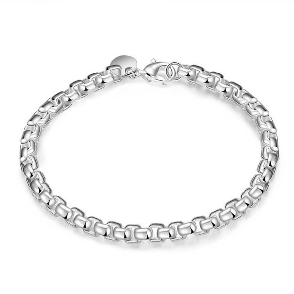 Fashion Men Women's Bracelet 925 Sterling Silver Fashion Jewelry Round Bracelet 4mm Geometric Box Bracelet 8inch