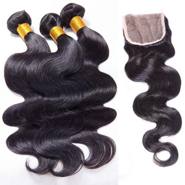 Onda del cuerpo del pelo brasileño de la Virgen del Perú 3 4 Paquetes con la extensión del pelo humano del encierro trama doble tramas del pelo humano con cierre