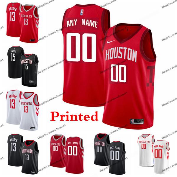 brand new 2c740 8c341 2019 2019 Printed Houston Earned Rockets James Harden Chris Paul Clint  Capela Eric Gordon Gerald Green Tucker Rivers Edition Basketball Jersey  From ...