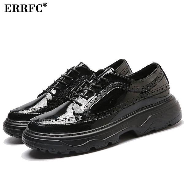 ERRFC Luxus Männer Schwarz Brogue Schuhe Mode Neue Ankunft Lace Up Plattform Freizeitschuhe Mann Büro Pu-leder Männlichen 38-43