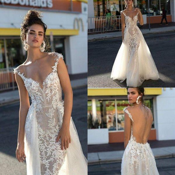 Romantic Illusion Wedding Dresses 2019 Berta Sexy Open Back Cap Sleeve Detachable Train Appliqued Lace Mermaid Bridal Gowns