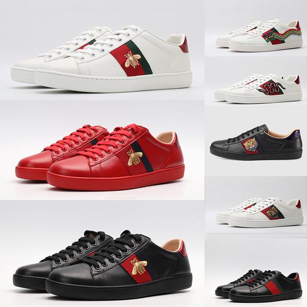 2020 abelha Shoes Vermelho Branco Preto Couro Calçados casuais ACE Sneakers para as Mulheres Homens Estrela do Natal Serpente Tiger planas Bottoms Trainers Sapato