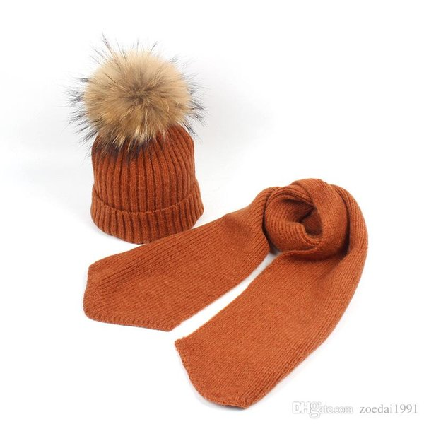 Children Hat child Baby cap hats Scarves Suit Winter wool Raccoon Ball Real Fur Pompom Hat Scarf set Outdoor For Gifts
