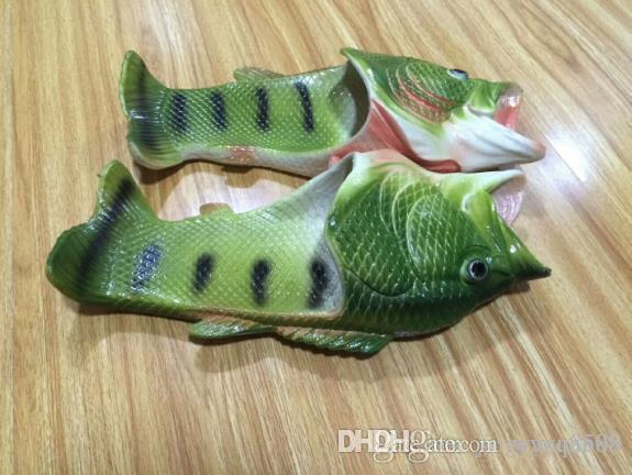 2019 Fish-shaped slippers summer creative funny paternity beach shoes dragged inside and outside dragons dragged inside and outside