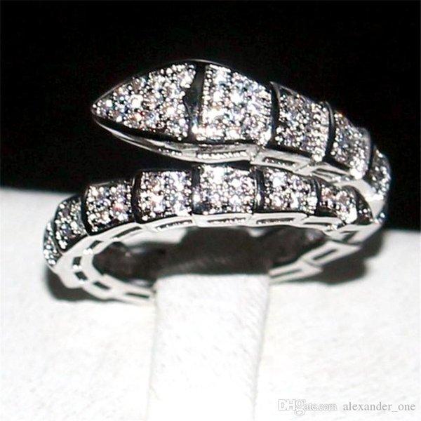 Ustore8 Marke Schlange-Ring-Art und Weise 10KT Weißgold gefüllt Pave Einstellung Volle Diamant cz Ringe Hochzeit Braut Schmuck Band für Frauen 10.05 Größe