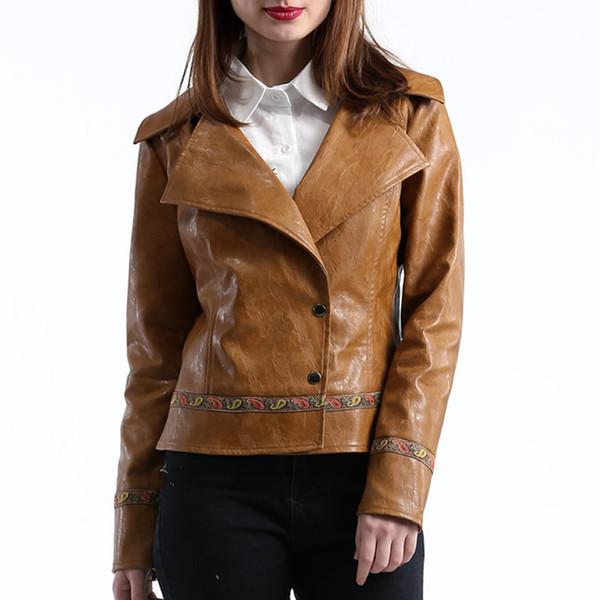 En cuir PU Slim Moto Vestes De Mode Plaine Teint Marron Womens Artificielle Veste En Cuir Automne Et Hiver Femme Veste Manteau